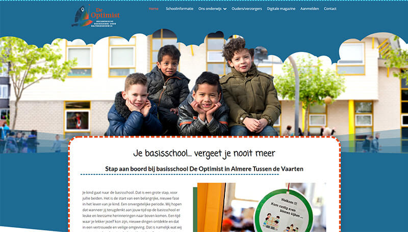 De Optimist wordpress website voor school in Almere