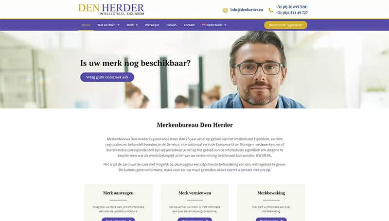 Merkenbureau Den Herder multilanguage wordpress website