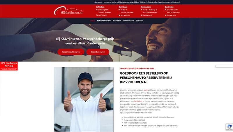 woocommerce webshop wordpress website auto huren kmvrijhuren.nl