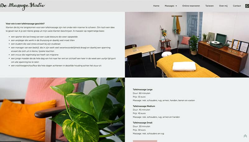 Massage Studio wordpress website met booking systeem